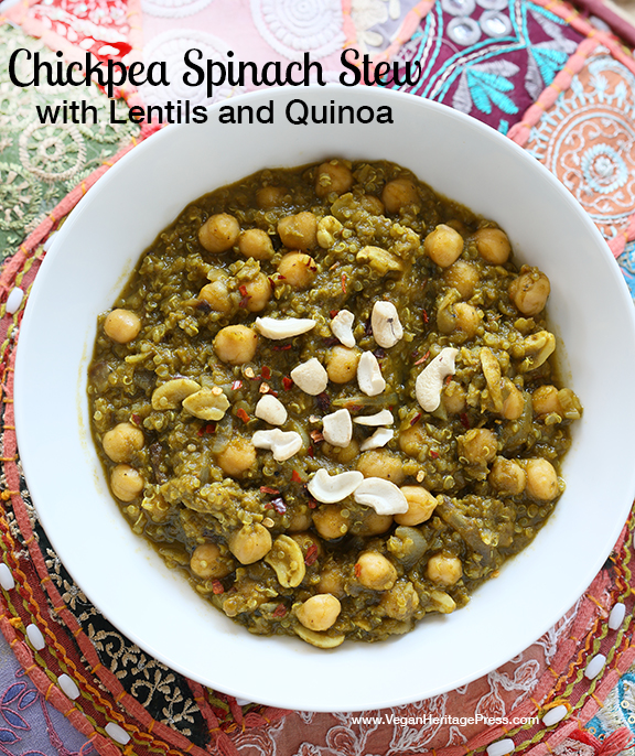 Chickpea Spinach Stew from Vegan Richas Indian Kitchen by Richa Hingle