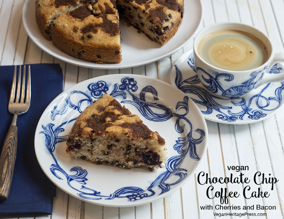 Vegan Chocolate Chip Coffee Cake with Cherries and Bacon from Baconish by Leinana Two Moons
