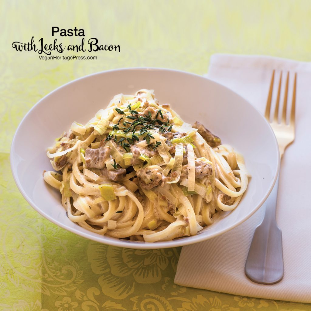 Vegan Pasta with Leeks and Bacon