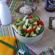Roasted Tofu and Vegetable Stir-Fry with Garlic-Ginger Sauce from The Abundance Diet by Somer McCowan