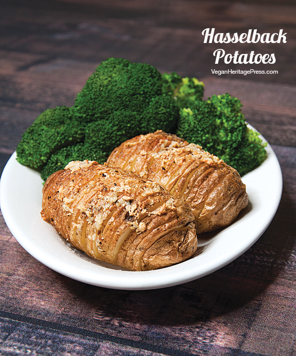 Hasselback Potatoes from The Vegan Air Fryer by JL Fields, vegan & gluten-free