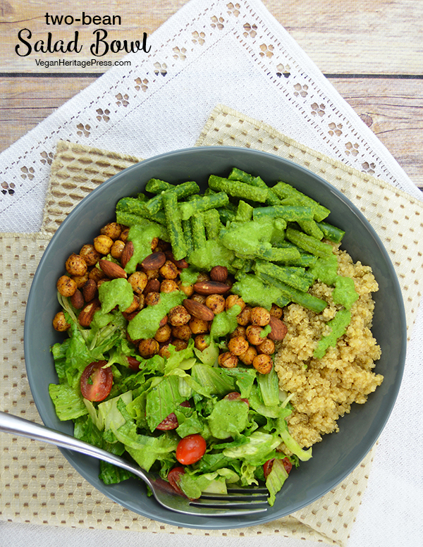 Two-Bean Salad Bowl with Pesto Dressing from Vegan Bowls by Zsu Dever (gluten-free)