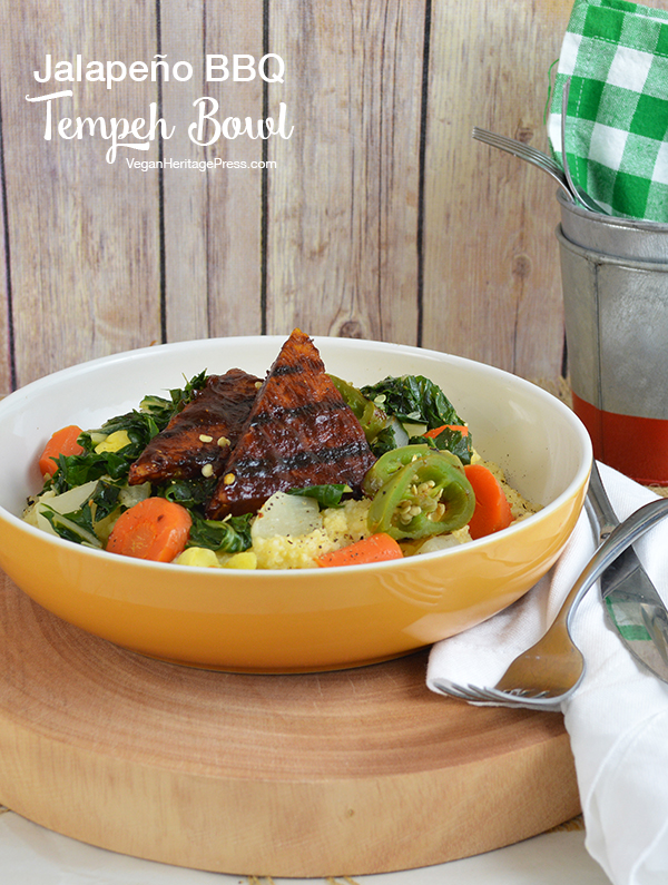 Jalapeño BBQ Tempeh Bowl Over Creamy Grits and Chard (vegan & gluten-free) from Vegan Bowls by Zsu Dever