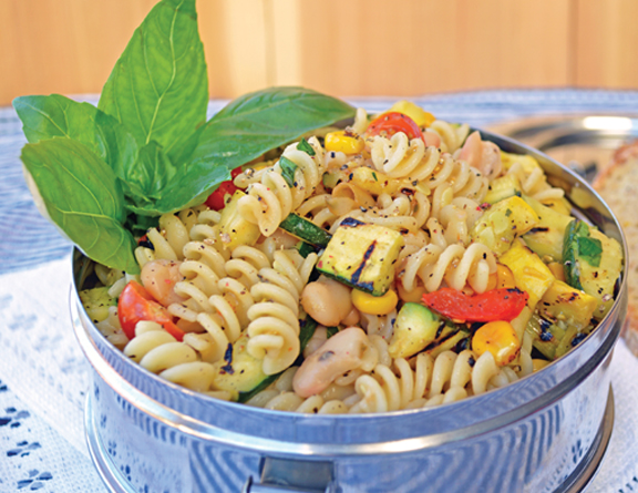 Grilled Summer Pasta Salad with Garlic Crostini from Everyday Vegan Eats by Zsu Dever