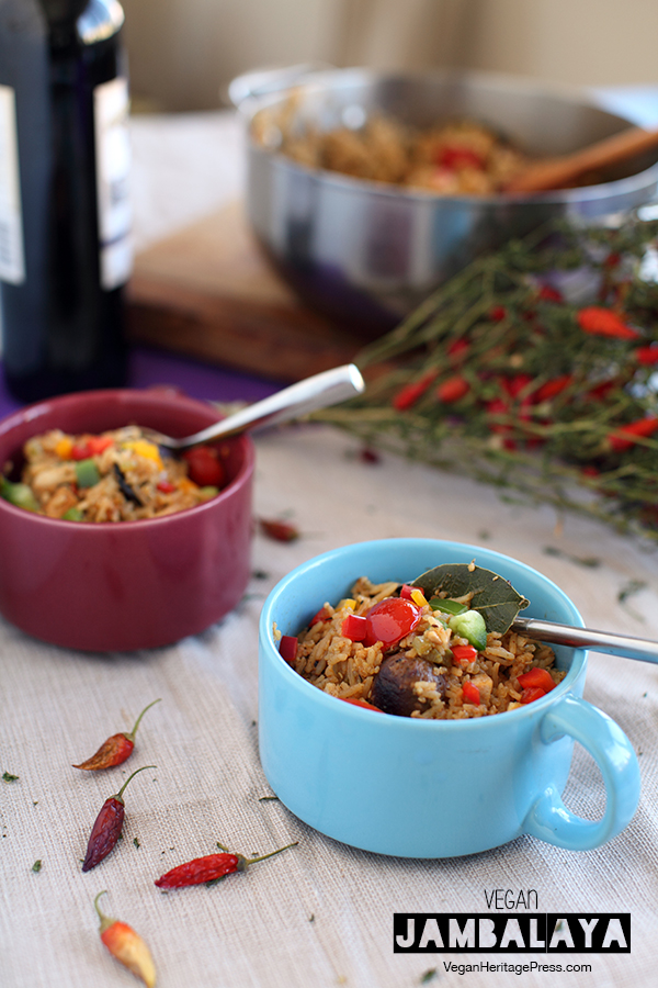 This vegan Jambalaya from The Lusty Vegan is flavorful, filling, and maybe a little indulgent. #vegan #veganjambalaya