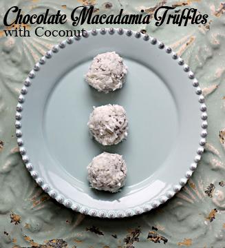 Chocolate Macadamia Truffles with Coconut