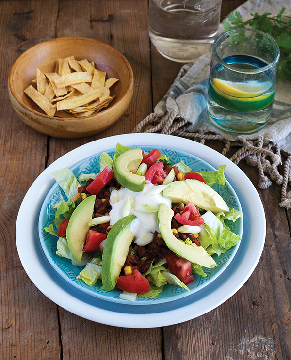 Vegan Taco Salad with Corn and Black Bean Salsa from Cook the Pantry by Robin Robertson